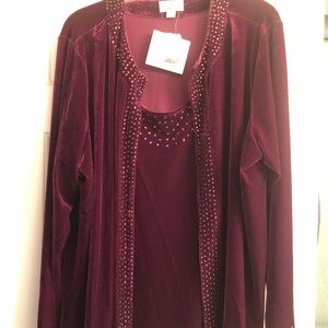 Quacker Factory Tops - Quacker Factory stretch velvet 1 piece duet NWT 2X